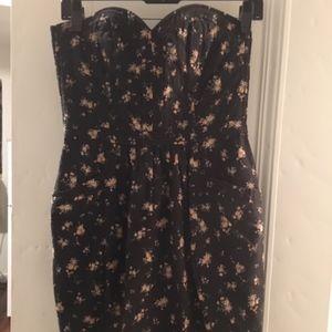 Rebecca Taylor Black Floral Dress w/ Pockets Sz 2